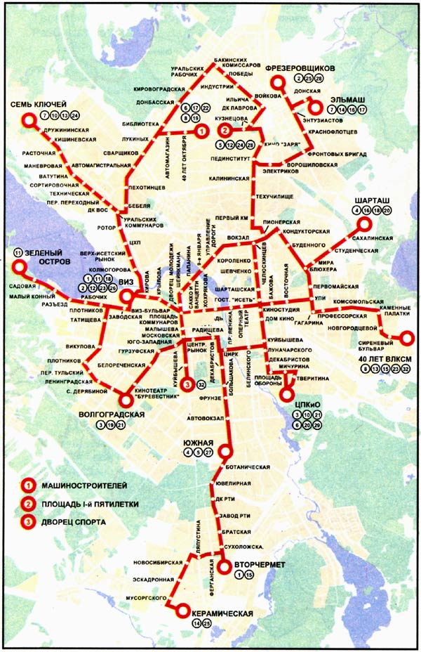 Екатеринбург. Схема трамвайных